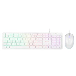 WIRED KEYBOARD AND MOUSE SET WITH LED LIGHT, WHITE